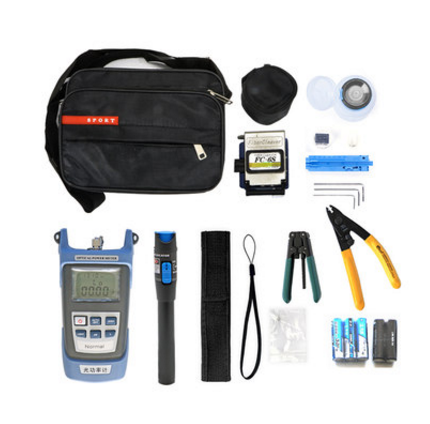 Practical Fiber Optic FTTH Tool Kit with FC-6S Fiber Cleaver and Optical Power Meter 5km Visual Fault Locator Fiber Stripper