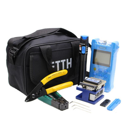 19pcs/set FTTH Tool Kit with FC-6S Fiber Cleaver and Optical Power Meter 10mW Visual Fault Locator Fiber Optic Stripper