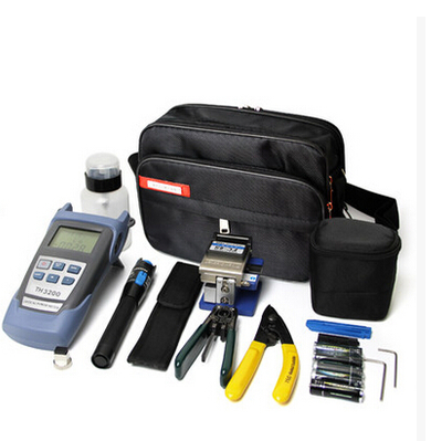 8 In 1 Fiber Optic FTTH Tool Kit with FC-6S Fiber Cleaver and 1MW Visual Fault Locator Stripper CFS-2 Alcohol bottle